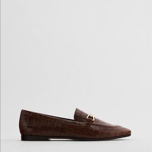 Zara  Animal print 100% cow leather loafers